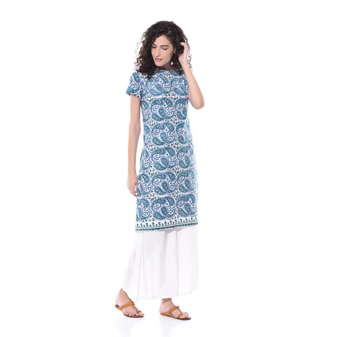 Blue Printed Floral Kurta by Paar