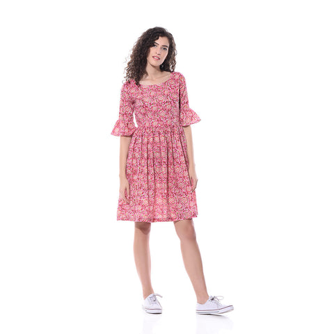 Pink Printed Skater Dress by Paar