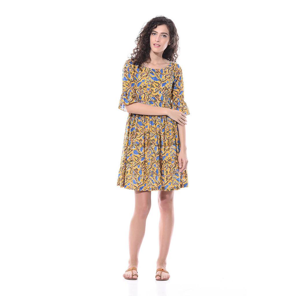 Yellow Printed Skater Dress by Paar