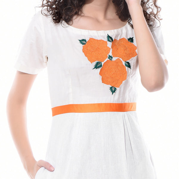 White Linen Floral Embroidered Dress