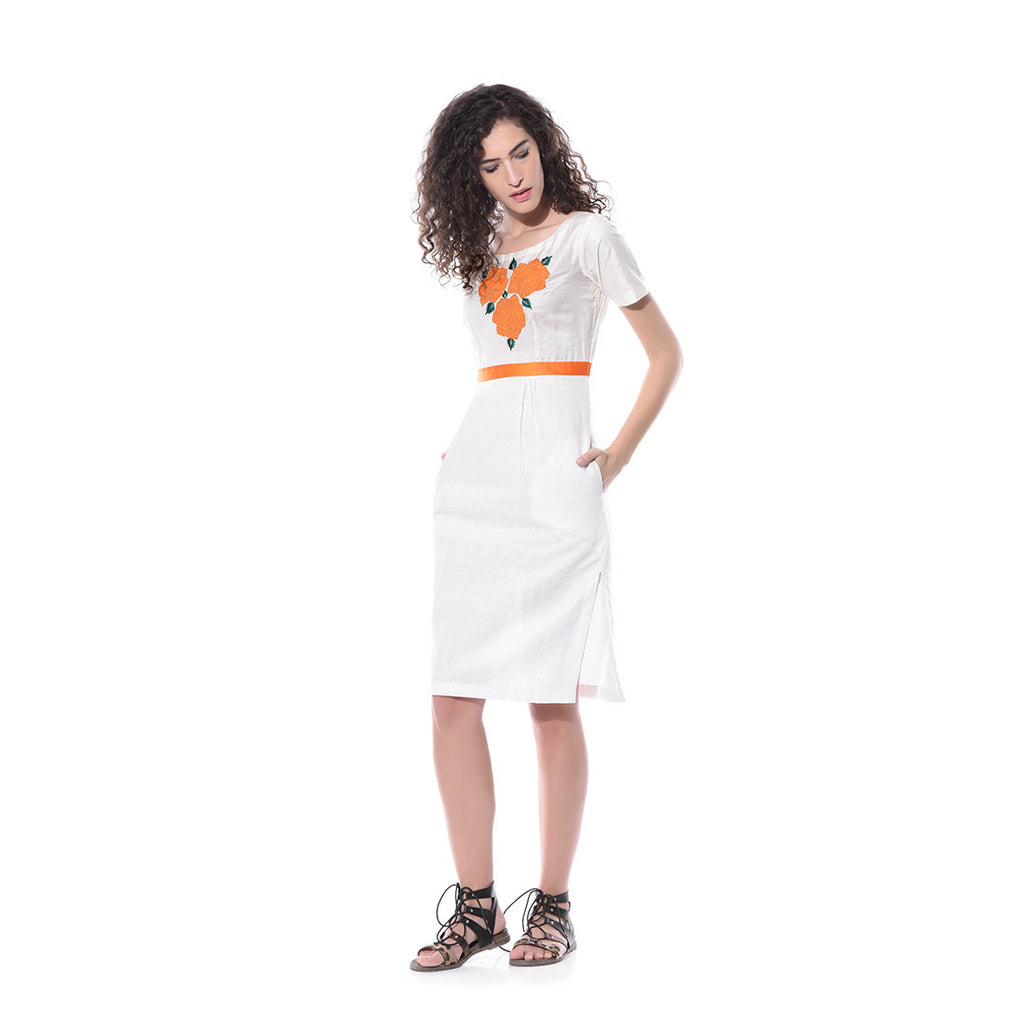 White Linen Floral Embroidered Dress by Paar