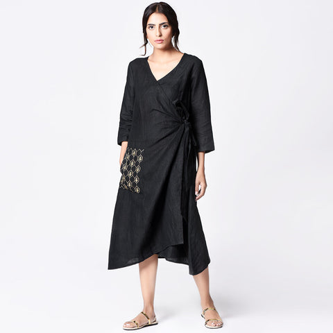 Black Cotton Embroidered Wrap Dress by Paar