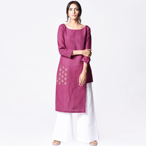 Plum Linen Embroidered Asymmetrical Tunic by Paar