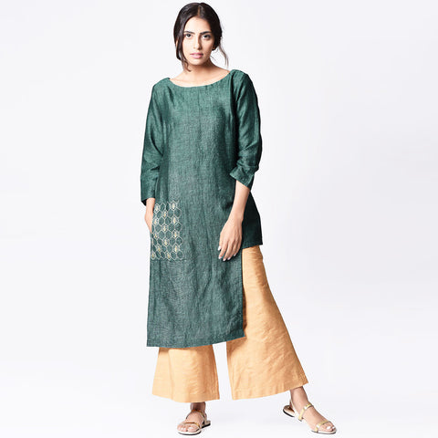 Green Linen Embroidered Asymmetrical Tunic by Paar