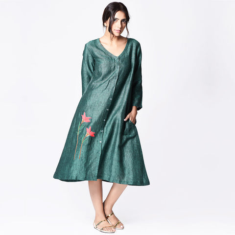 Green Linen Embroidered A-line Dress by Paar