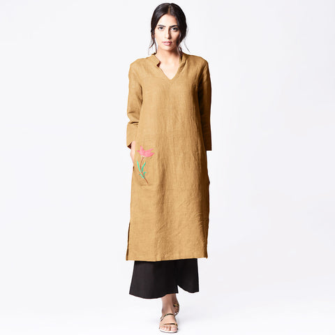 Beige Linen Embroidered Dress by Paar