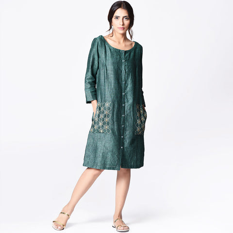 Green Linen Bee Embroidered Dress by Paar
