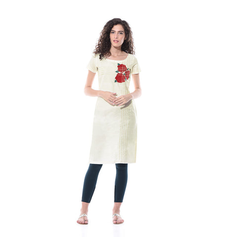 White Linen Embroidered Kurta by Paar