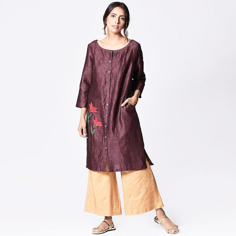 Plum Linen  Embroidered Dress by Paar