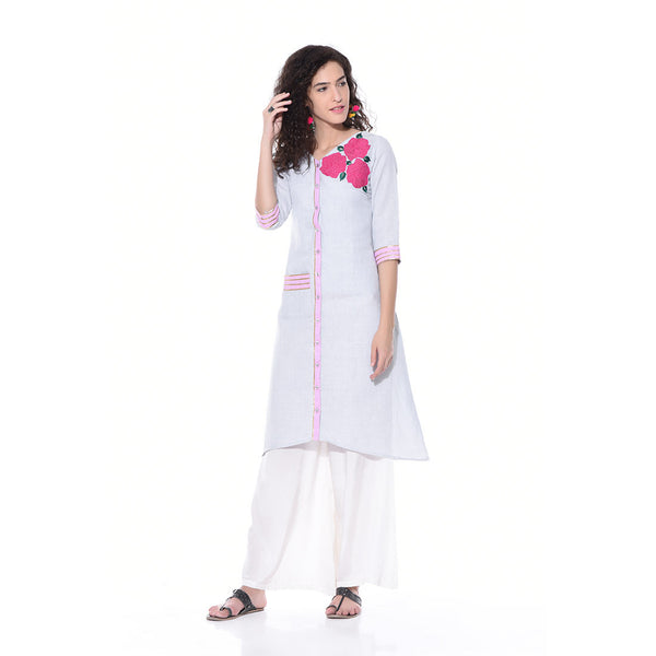 Light Blue Linen Embroidered Kurta