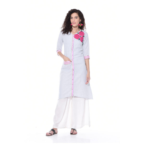 Light Blue Linen Embroidered Kurta by Paar