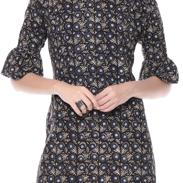 Black Printed Floral Dress