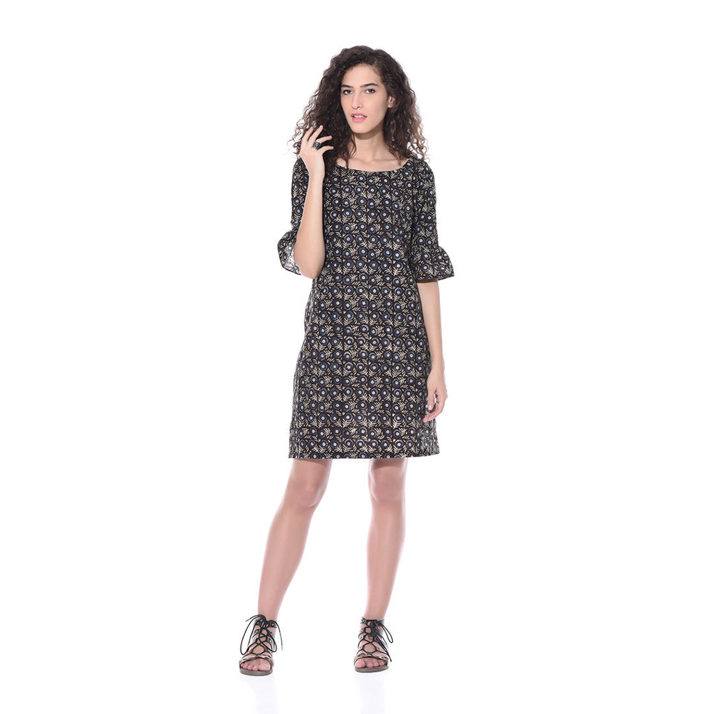 Black Printed Floral Dress by Paar