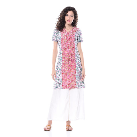 Multicolor Printed Panel Kurta by Paar