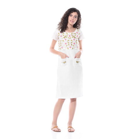 White Linen Embroidered Dress by Paar