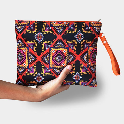 Black Graphic Design Pouch by Noorani Biswas