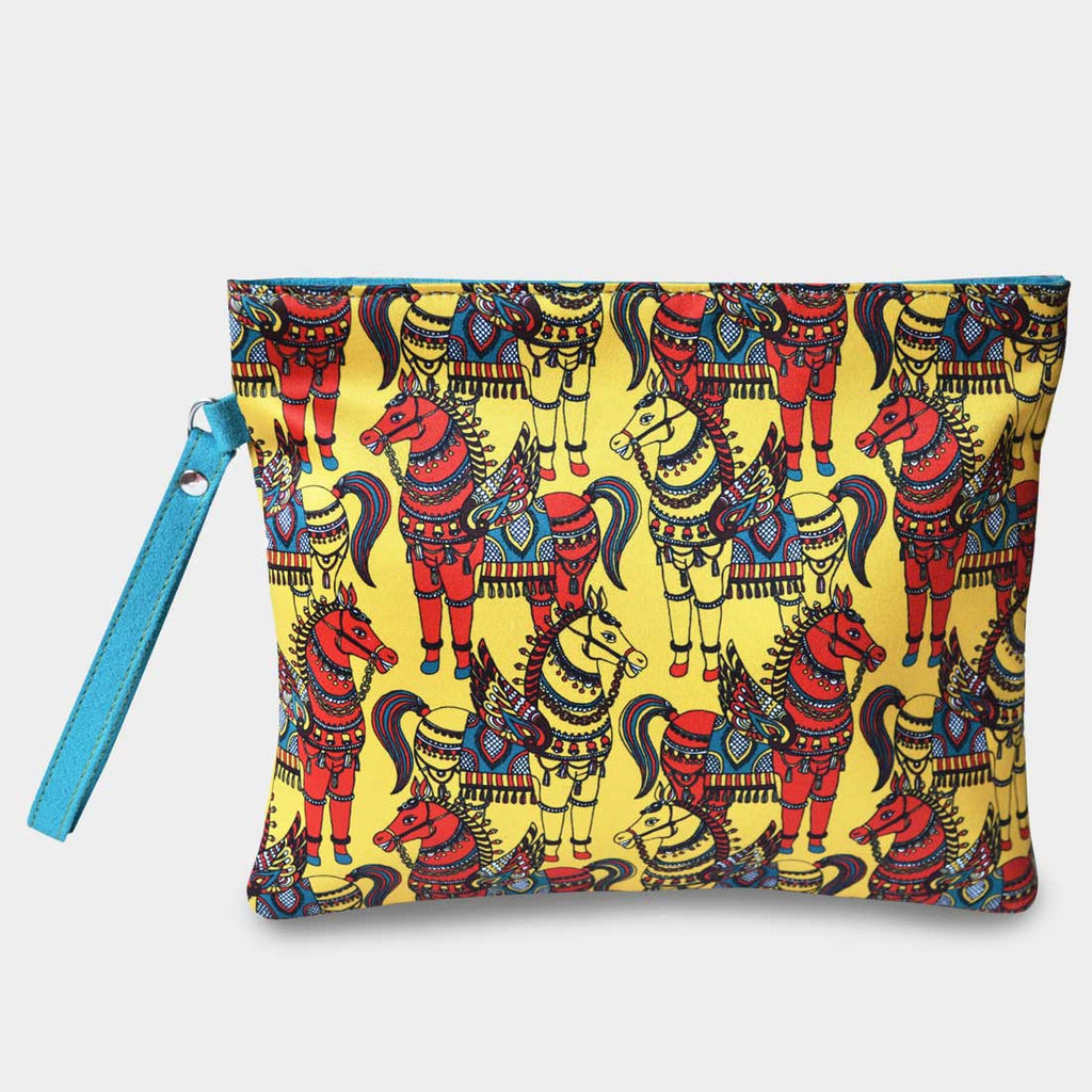 Yellow Horses Pouch by Noorani Biswas