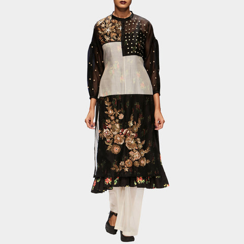 Kurta with Zardozi Embroidery and Palazzo Pants by PRAMA by PRATIMA PANDEY