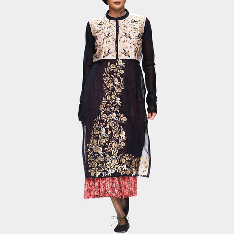Indigo Kurta with Printed Anarkali Inner Set by PRAMA by PRATIMA PANDEY