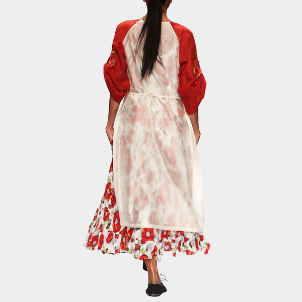 White & Red Anarkali Kurta Set