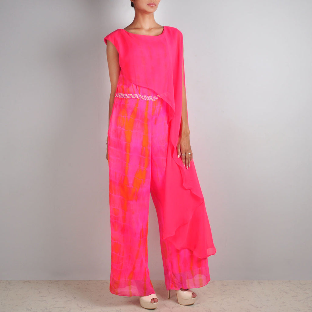 Pink Cape Jumpsuit by Palanquine