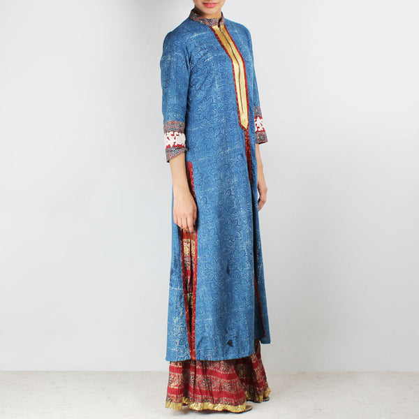 Set Of Long Printed Kurta With Crinkled Palazzos & Dupatta