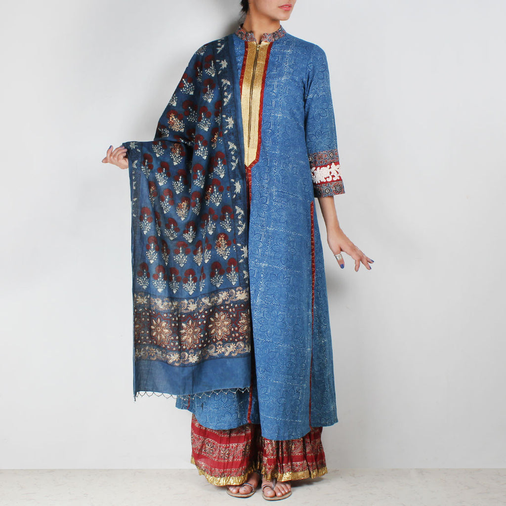Set of Long Printed Kurta with Crinkled Palazzos & Dupatta by Palanquine