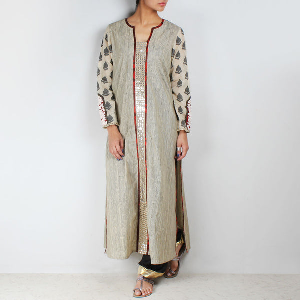 Beige Long Kurta With Chevron Dupatta & Palazzos