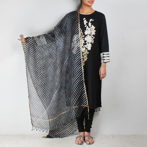 Black embroidered kurta with leheriya dupatta & leggings by Palanquine