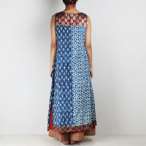 Blue Overlapping Organic Cotton Long Kurta