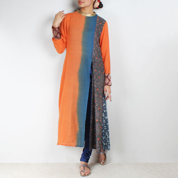Shaded & printed side slit kurta with churidaar by Palanquine