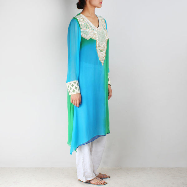 Blue & Green Asymmetric Tunic With Embroidered Yoke