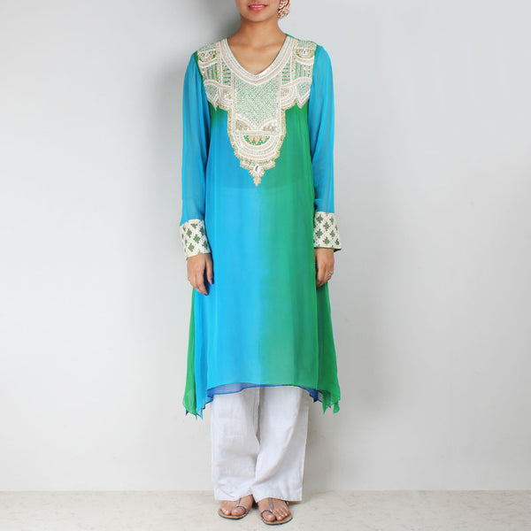 Blue & green asymmetric tunic with embroidered yoke by Palanquine