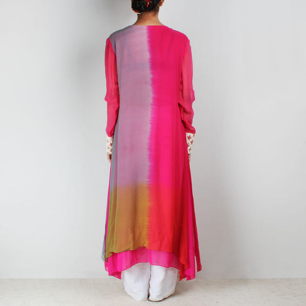 Tricolor Asymmetric Tunic With Embroidered Yoke