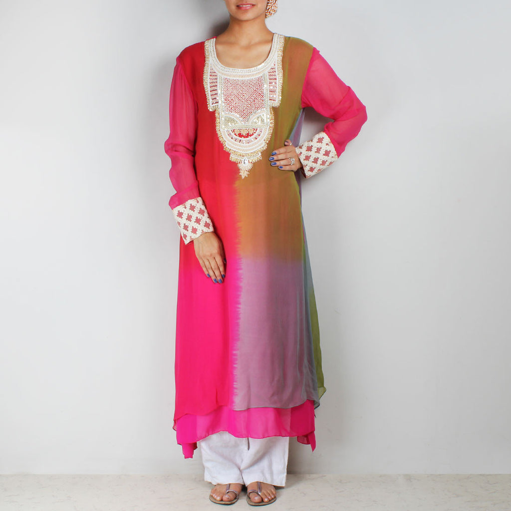 Tricolor asymmetric tunic with embroidered yoke by Palanquine