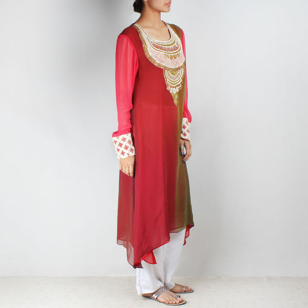 Red & Green Asymmetric Tunic With Embroidered Yoke
