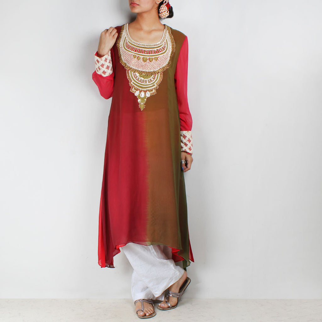 Red & green asymmetric tunic with embroidered yoke by Palanquine
