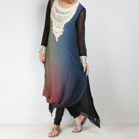 Black & blue tunic with cowl hem & embroidered yoke by Palanquine