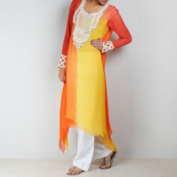 Orange & Yellow Asymmetric Tunic With Embroidered Yoke