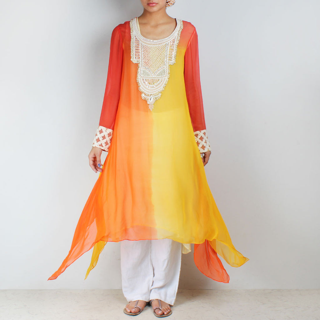 Orange & yellow asymmetric tunic with embroidered yoke by Palanquine