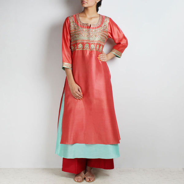 Chanderi Hand Embroidered sequined Reddish Rust Kurta with inner by Palanquine
