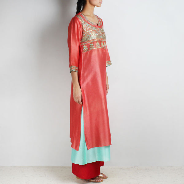 Chanderi Hand Embroidered Sequined Reddish Rust Kurta With Inner