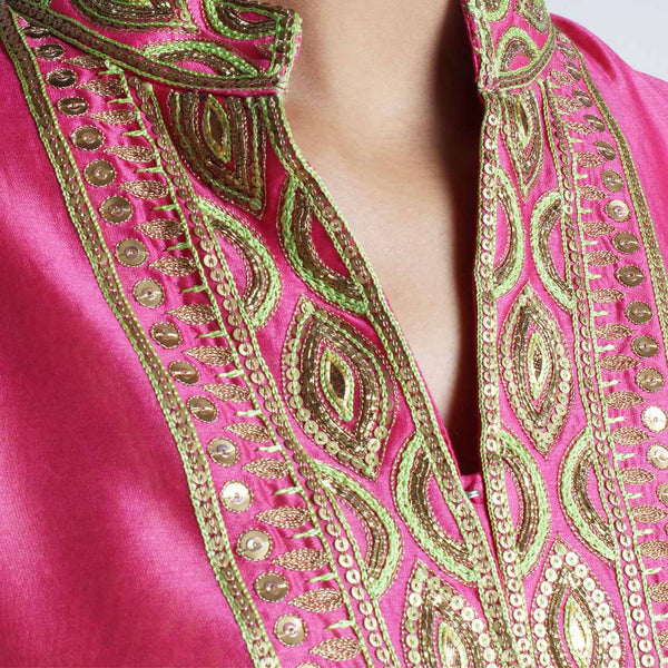Chanderi Hand Embroidered Sequined Pink Kurta With Inner