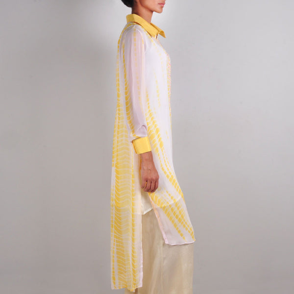 Yellow And Pink Batik Print Tunic
