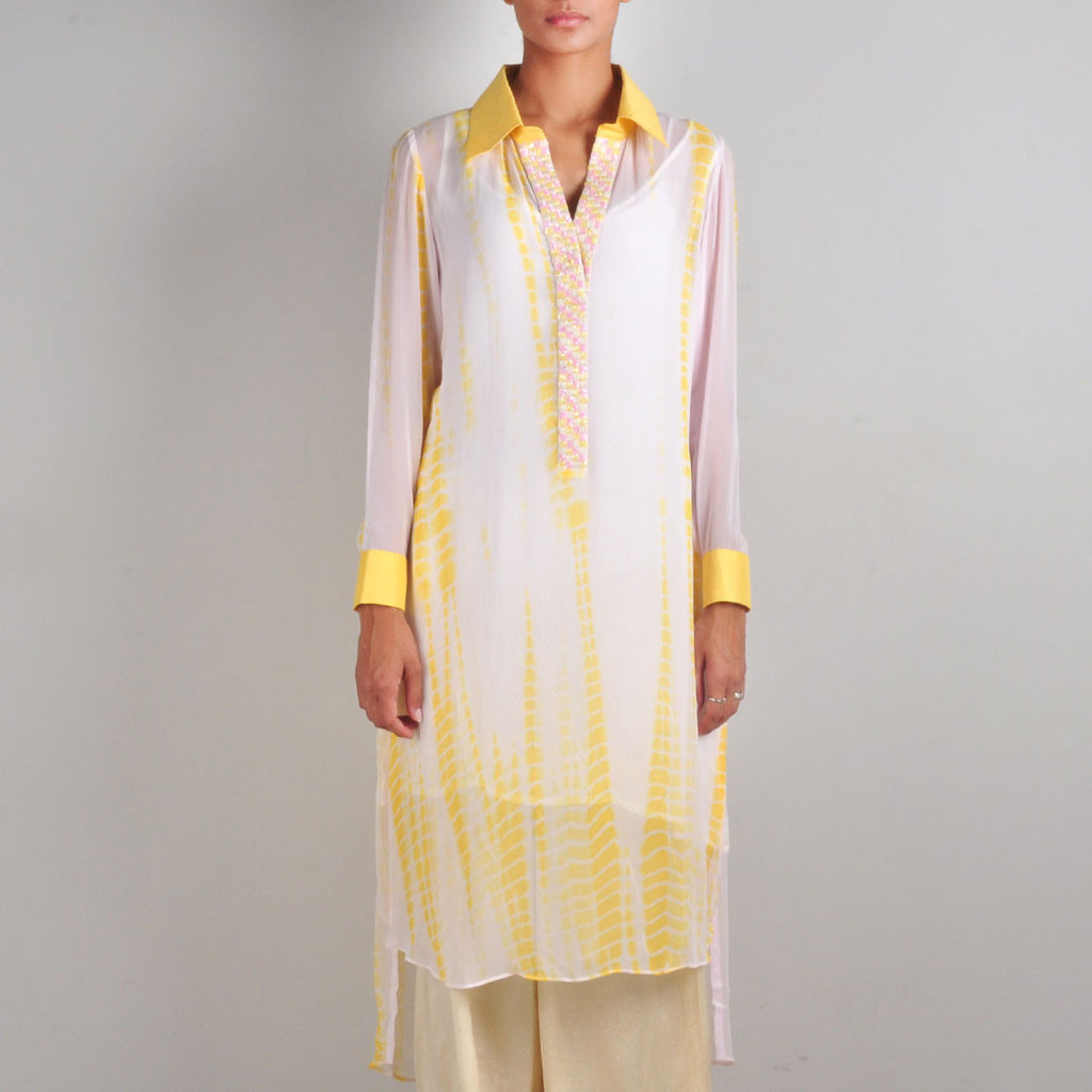 Yellow and Pink Batik Print Tunic by Palanquine