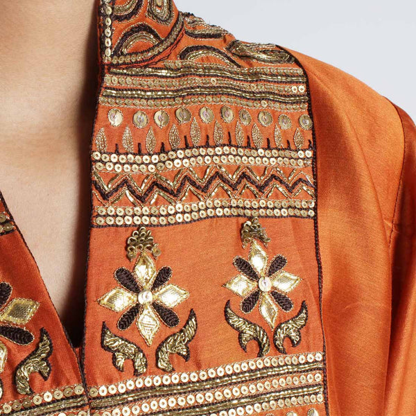 Chanderi Hand Embroidered Sequined Rust Kurta With Inner