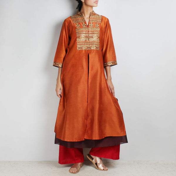 Chanderi Hand Embroidered sequined Rust Kurta with inner by Palanquine