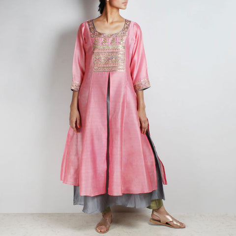 Chanderi Hand Embroidered sequined Pink Kurta with inner by Palanquine