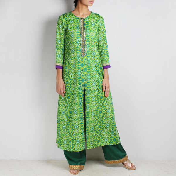 Cotton Floral printed Green Kurta with Palazzos by Palanquine