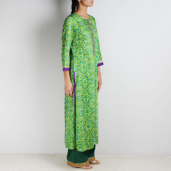 Cotton Floral Printed Green Kurta With Palazzos
